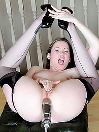 Seamed stockings girl dildo machine sex pictures at freekilosex.com
