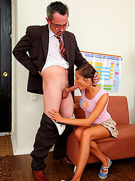 Ruffled skirt girl takes older dick pictures at kilogirls.com