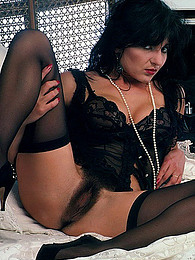 Vintage lingerie girl has hairy pussy pictures