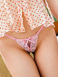 Japanese beauty in pink thong pictures