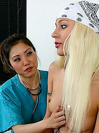 Gloved Asian nurse fingers girl pictures at find-best-pussy.com