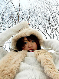 Japanese sweater girl teases outdoors pictures