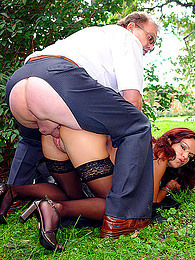 Old guy bones redhead outdoors pictures at find-best-panties.com