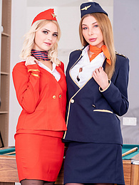 Lika and Marilyn, Air Hostesses Arrive Home with a Bang pictures at find-best-panties.com