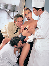 Sexy Blonde Ck Kirsty Cooks Up A Gangbang In the Kitchen pictures at freekilomovies.com