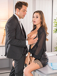 Gorgeous Tattooed Liya Silver Gets Hot Cum in the Office pictures