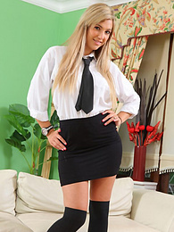 Sexy blonde college teen Sophia takes off her short skirt pictures