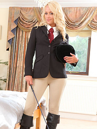 Playful blonde babe Sara strips her jockey uniform pictures at nastyadult.info