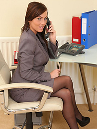 Gorgeous brunette secretary Lauren undresses in office pictures at find-best-panties.com