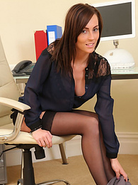 Gorgeous brunette secretary Lauren undresses in office pictures
