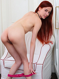 Skinny Readhead Babe Dills her Pussy with a Pink Dildo pictures at freekilomovies.com