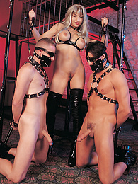 Sexy Blonde Femdom Queen Lora Walks Her Well-Behaved Dogs pictures