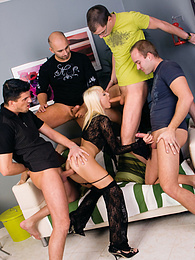 Adventurous Lena Cova Tries and Loves Her First Gangbang pictures