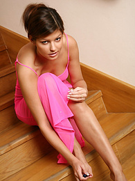 Cute Czech babe gets fucked hard on the stairs pictures at freekilomovies.com