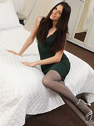 Becky X from Layered-Nylons in a minidress with pantyhose and stockings pictures at kilovideos.com