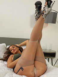 Frankie L from Layered-Nylons wearing a minidress with stockings over pantyhose pictures at kilovideos.com