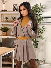 Louisa Lu from Only Secretaries in a miniskirt and pantyhose pictures at find-best-pussy.com