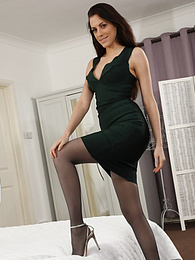 Becky X from Layered-Nylons in a minidress with pantyhose and stockings pictures at freekilomovies.com