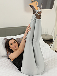 Kelly Hathaway from OnlySilkAndSatin wearing leggings over sheer black pantyhose pictures at find-best-videos.com