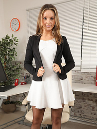 Gina B from Only Secretaries in a short miniskirt with high heels and pantyhose pictures at find-best-pussy.com