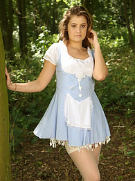 Lucy Ava from Only-Costumes poses as Dorothy in a minidress, heels and stockings pictures at find-best-mature.com