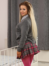 Chloe Welsh from Only Opaques in a miniskirt and pantyhose pictures at find-best-babes.com